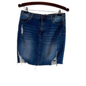 Wax Jean Mini Skirt Distressed Ripped L Large